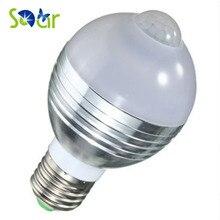 7W E27/B22 Warm White/White LED Ball Bulb Infrared PIR Sensor Corridor Stair Light