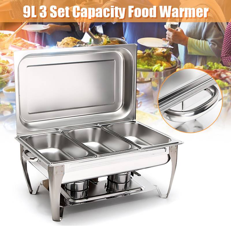 Set of 1//2//4 Buffet Stoves Stainless Steel Chafing Dishes Party Food Warming Pan