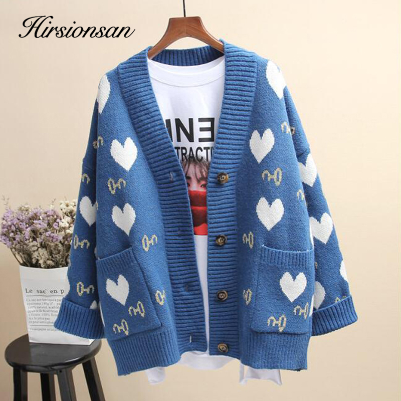 Hirsionsan Sweater Women Autumn 2019 Elengant Knitted Cardigans Big Pocket Korean Clothes Female Cute Fashion Loose Warm Tops