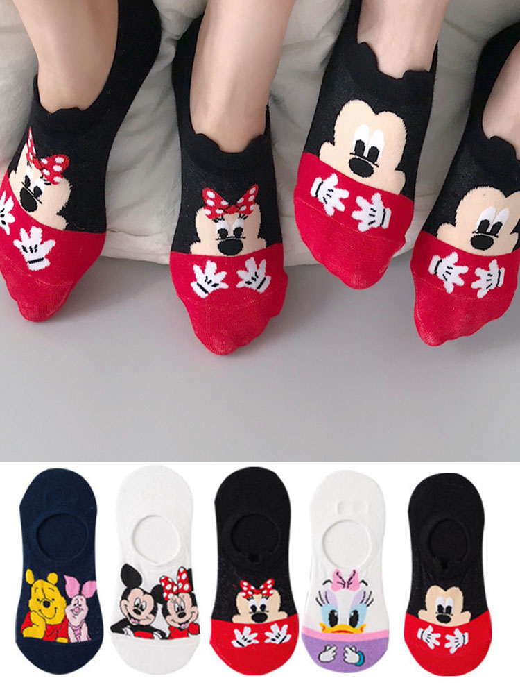 Cute Women Duck-Socks Mouse Invisible Cotton Cartoon Summer 5-Pairs/Lot Casual