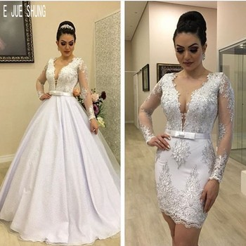 E JUE SHUNG Luxury 2 In 1 Wedding Dresses Sexy Sheer V Neck Long Sleeves Lace Appliques Bow Sashes Bridal Gowns Detachable Train