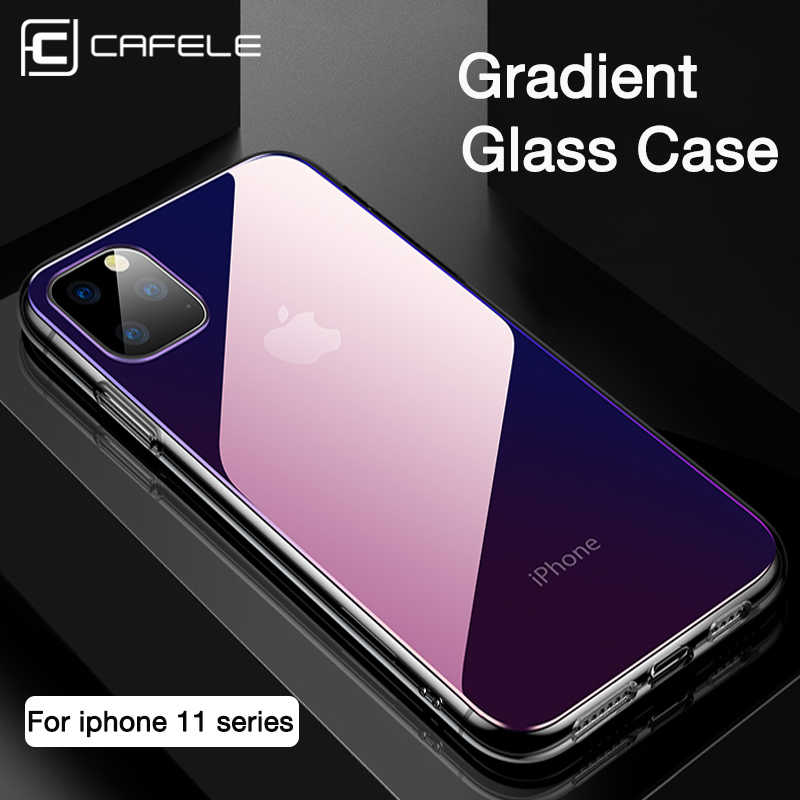 CAFELE Gradient Glass Case for iPhone 11 pro max Cover Soft Edge Tempered Glass Back Case for Apple iPhone 11 pro Anti-scratch