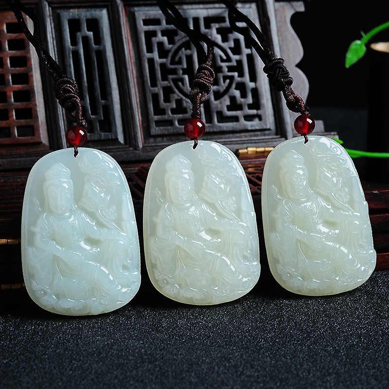 Резьба по натуральному и этианскому яшмовая Гуаньинь подвеска yu качество деликатная маслянистая яшмовая Гуаньинь подвеска подлинный белый нефрит
