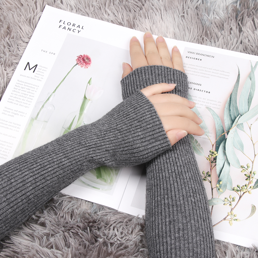 Stretch Knit Arm Warmers Autumn Winter Wool Cashmere Blend Knitted Arm Sleeve Solid Long Fingerless Gloves Wholesale