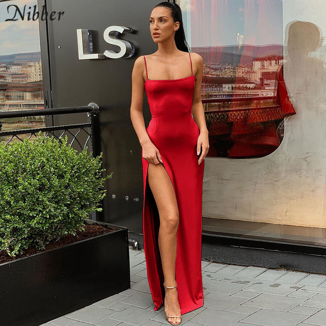Nibber red black New year christmas party long dresses women 2020 spring new bodycon lace up stretch Slim Soft midi dress femme 6