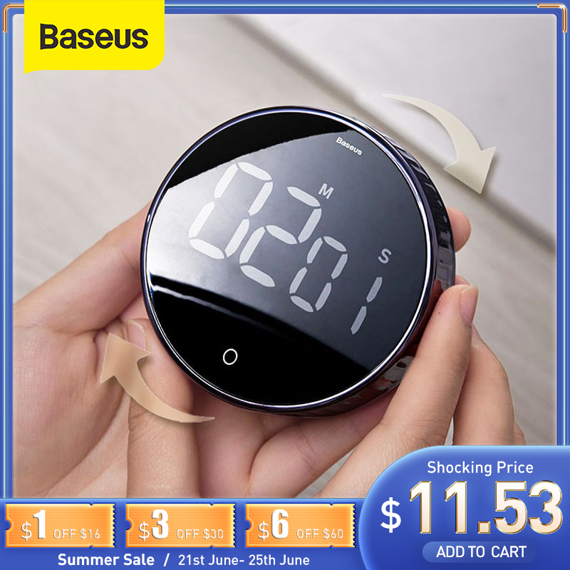 Baseus Magnetic Digital Timer for Kitchen Cooking Shower Study Stopwatch LED Counter Alarm Clock Manual Electronic Countdown