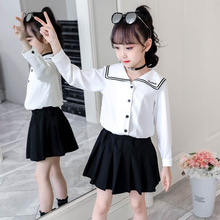 Girls college sets 가을 바다 어린이 학교 교복 긴 소매 셔츠 스커트 투피스 네이비 유니폼 아동복