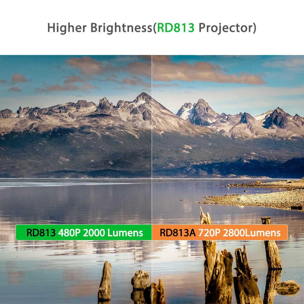Rigal RD813 Mini Proyector 1280x720P WiFi Multi pantalla Proyector de cine en casa Proyector 3D película HD Proyector soporte 1080P 50000 horas de vida