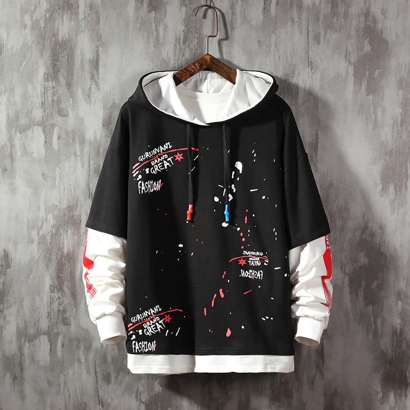 Leaf Letter Printing Hoodies Fashion Men's Sweatshirts  Hooded Man Hoodies High Quality  Men's Sweatshirts