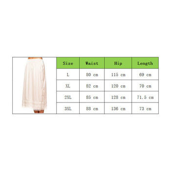 2019 Fashion Women's Lace Mid-Calt Skirt Elastic Waist Slip Solid Color Party Shopping Underskirt Petticoat Casual Bottoms L-3XL 3