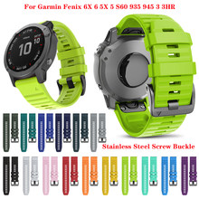 Ремешок силиконовый для наручных часов, быстросъемный браслет для Garmin Fenix 6X Pro Watch Easyfit, 26 22 20 мм