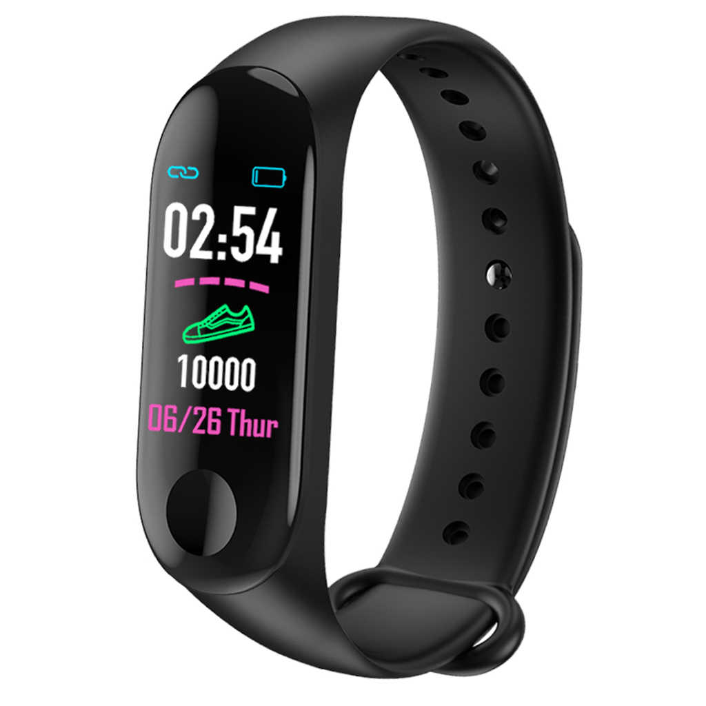 M3 Bluetooth Smart Watch Heart Rate Tekanan Darah Monitor Kebugaran Tracker Smart Gelang Band Tahan Air Sport Gelang