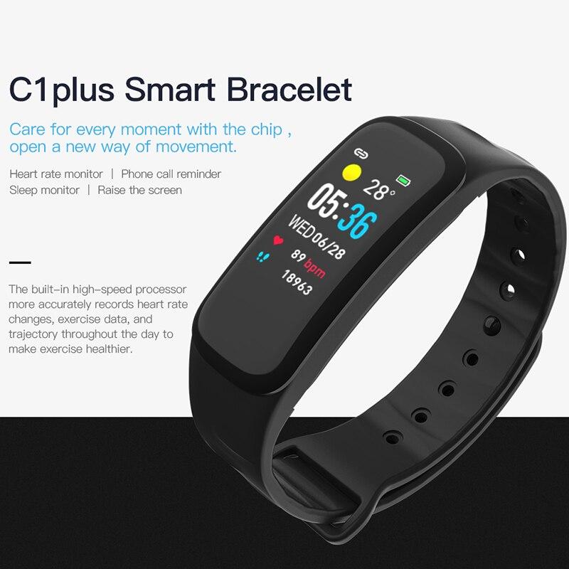 C1 Plus Smart Bracelet Fitness Tracker Waterproof Heart Rate Memory Card