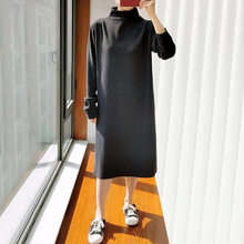 Robe De printemps Femmes Vêtements Surdimensionnés 2021 Décontracté Grande Taille Hauts Manches Longues Col montant Split Longueur Mollet Habiller Women