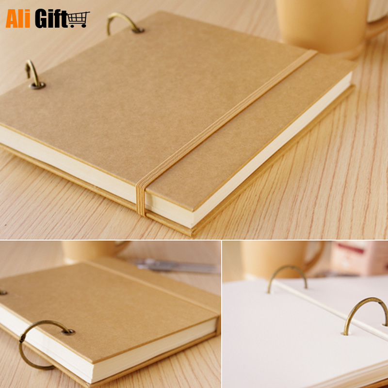 New 2021 100% Hight Quality Vintage Loose-Leaf Doodle album  Retro Sketch Book  Blank Diary Graffiti Draw Sketch Book Gift