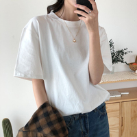Alien Kitty 2021 New Summer T Shirt Women Soft Free Loose Hot Sale Solid Fresh Casual Natural Short Basic Shirts 9 Colors 1