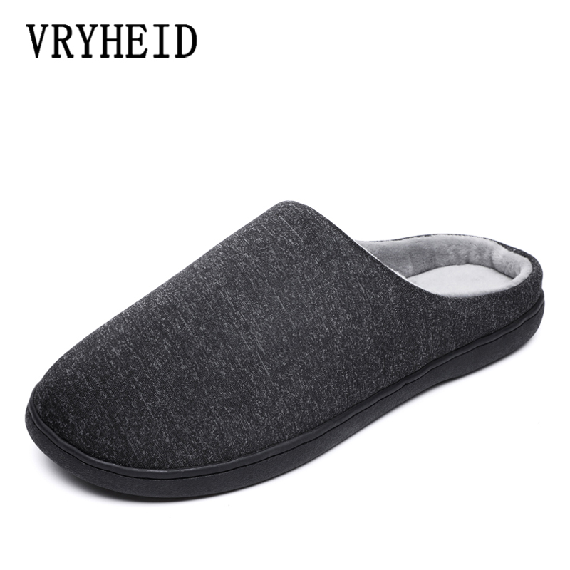 VRYHEID 2020 High Quality Unisex Cotton Home Slippers Winter Warm Plush Indoor Slipper Men Warm Soft Bottom Shoes Big Size 36-47