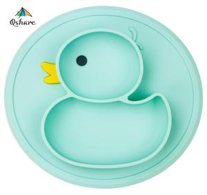 Qshare Baby Duck Dishes Silicone Plate Suction Tray Antislip Mini Mat Toddler Placemat Children Kids Baby Food Feeding Bowl(China)