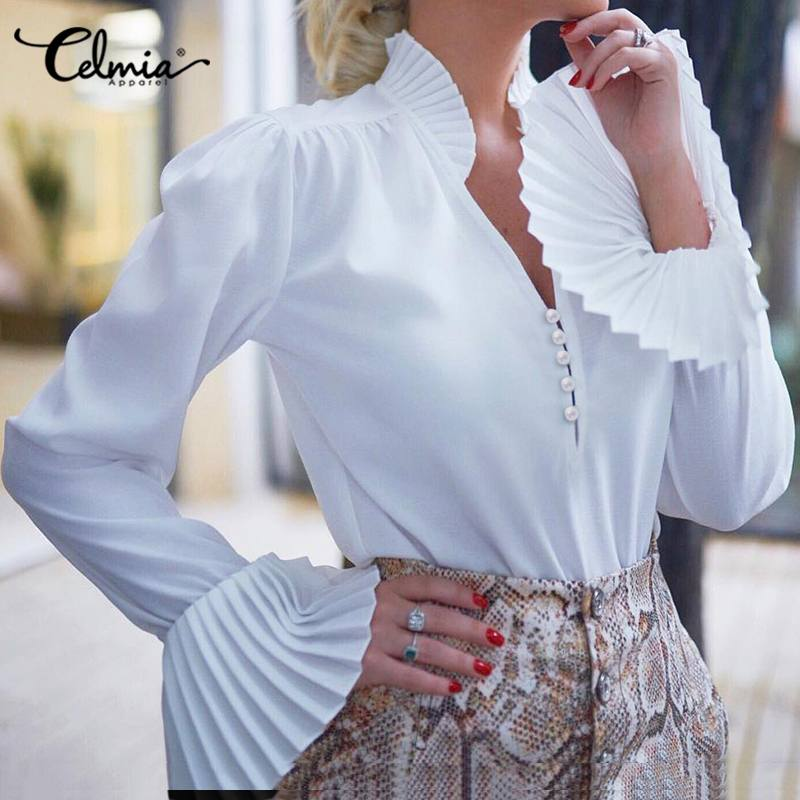 Celmia Weiß Blusen Frühling Mode Frauen Rüschen Shirts Lange Flare Hülse Elegante OL Top V-ausschnitt Tasten Blusas Plus Größe S-5XL7