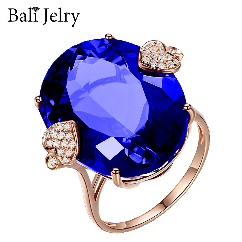 Bali Jelry Classic Ring for Women 925 Silver Jewelry Oval Shape Sapphire Zircon Gemstone Accessories Wedding Rings Drop shipping