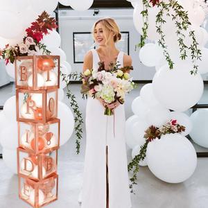 Image 4 - HUIRAN różowe złoto panna młoda być przezroczyste pudełko dekoracje ślubne na wesela zaręczyny dekoracje na wieczór panieński zaopatrzenie na wieczór panieński