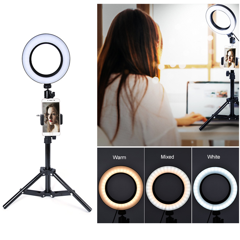 New Video Light Dimmable LED Selfie Ring Light USB Ring Lamp Photography Light With Phone Holder Tripod Stand For Makeup Youtube