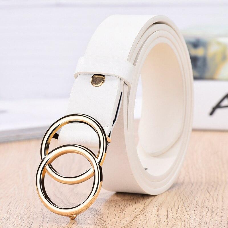 NO. ONEPAUL дизайнер известный бренд кожа высокое качество ремень Мода сплав двойное кольцо круглая пряжка девушка джинсы платье дикие ремни - Цвет: SYL white