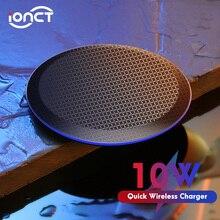 Ionct 10w rápido carregador sem fio para iphone 11 pro 8 x xr xs wirless carregamento para samsung telefone usb qi carregador sem fio almofada in039