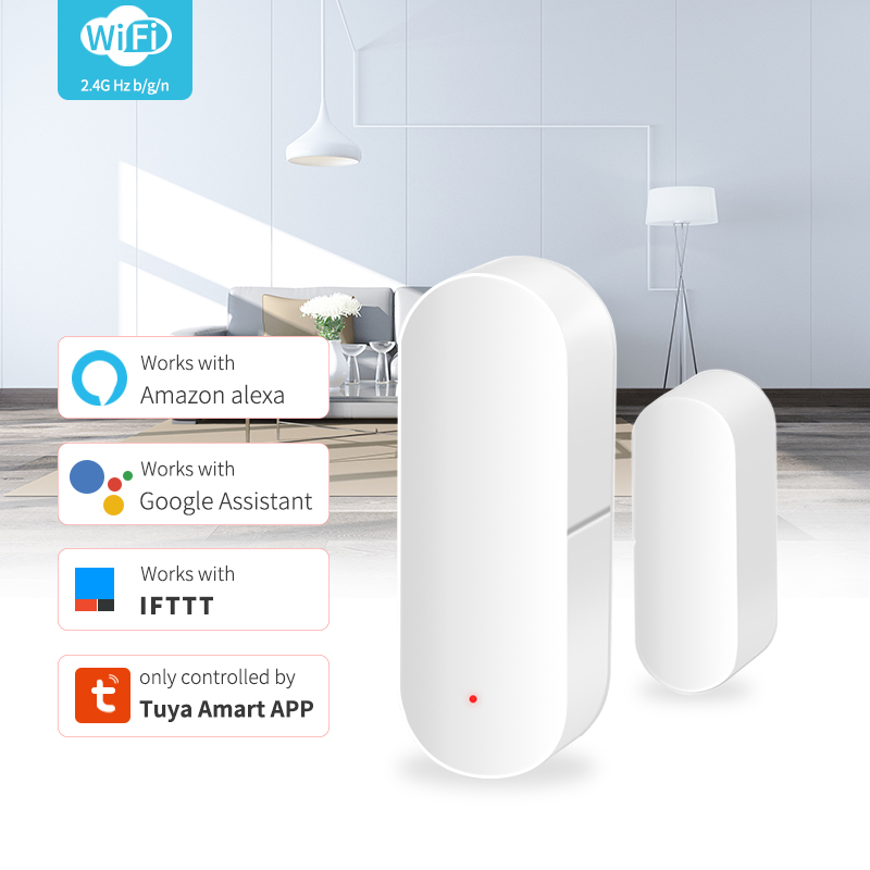 Smart WiFi Door Sensor Door Window Open Detector Home Security Notification Alerts Tuya APP Compatible With Alexa Google Home