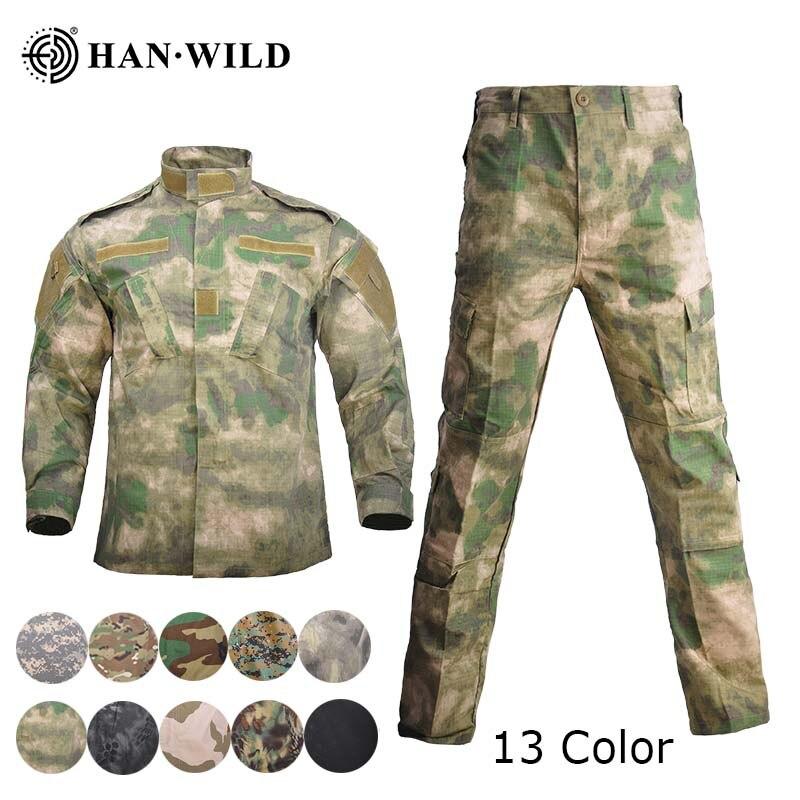 HAN vahşi Uniforme Militar Multicam kamuflaj takım elbise avcılık giysisi taktik özel kuvvet Ropa üniformaları savaş Ghillie takım elbise