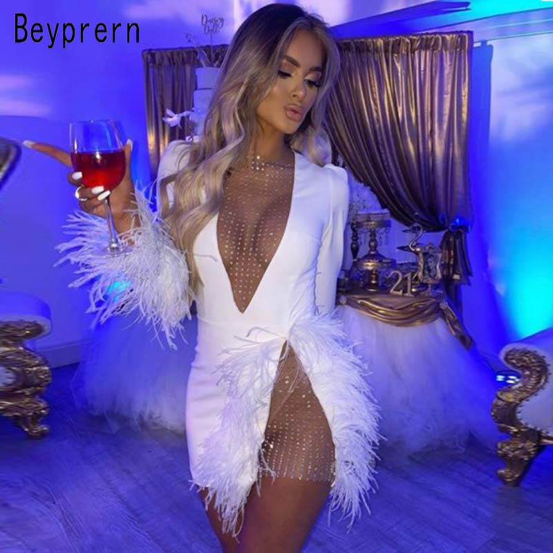 Beyprern Elegant White Mesh Inserted Embellished Mini Dress Women Glam Feather Patchwork Hollow Out Sequin New Year Party Dress