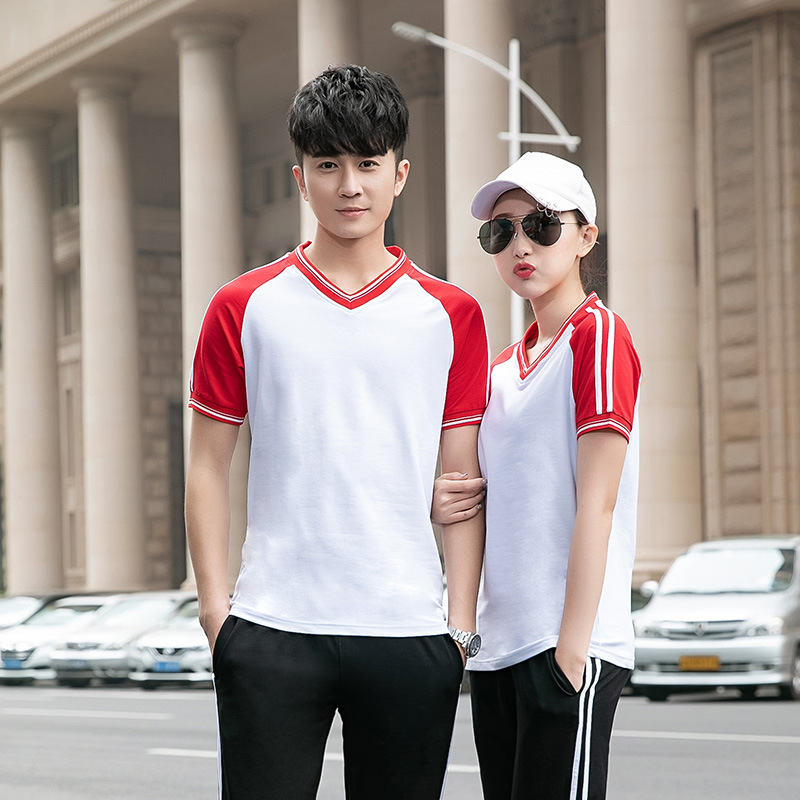 Youth Students Casual Thin Short Sleeve T-shirt Summer Thin Section Summer Couples Short Sleeve Set Sports Casual Running