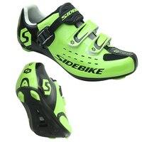 녹색 자전거 신발 남자 프로 팀 산악 자전거 신발 통기성 자전거 신발 MTB 자동 잠금 자전거 자전거 신발 스 니 커 즈