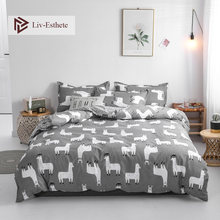 Liv-Esthete Cartoon Alpaca Bedding Set Gray Duvet Cover Bedspread Flat Sheet Pillowcase Single Double Queen King Bed Linen(China)