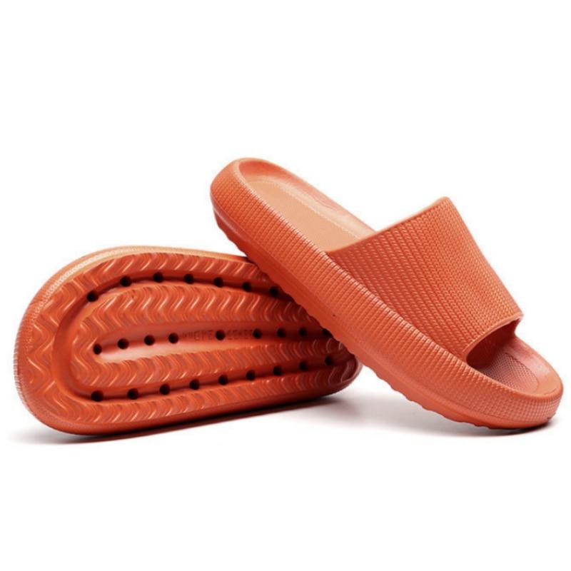 Pantoufles d'intérieur à semelle épaisse pour femmes et hommes, pantoufles de salle de bain, antidérapantes, douces EVA, chaussures d'été 1