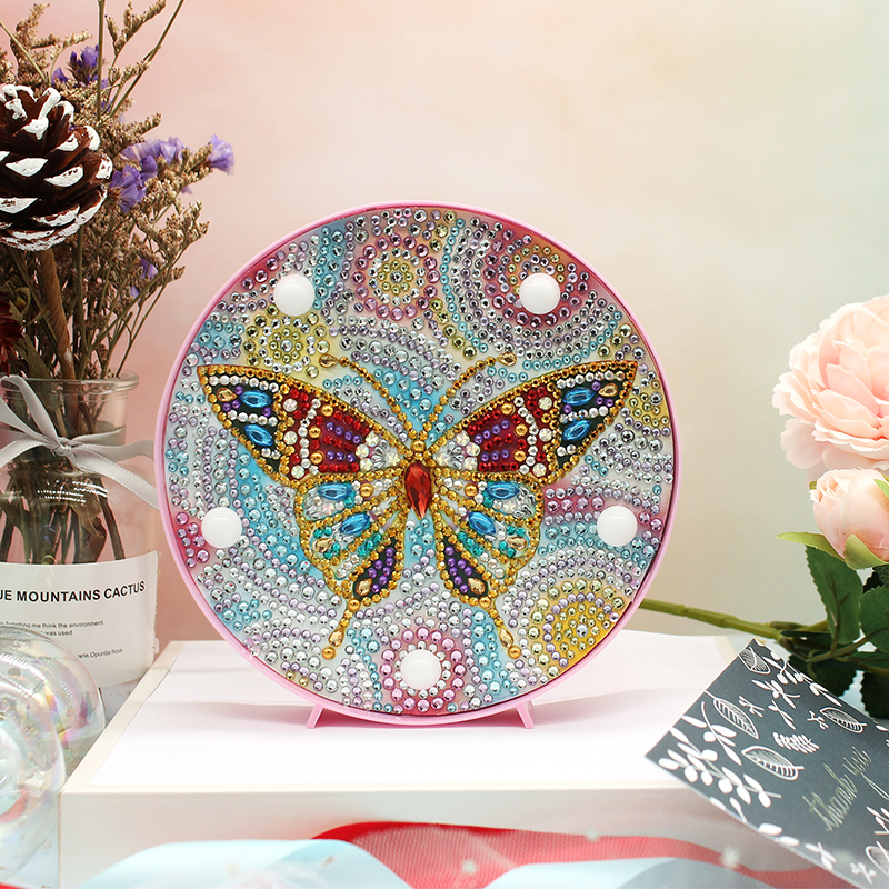 5D DIY Many Pattens Full Drill Diamond Painting Light Lamp Rhinestone Embroidery Special Shape Drill LED Diamond Painting Lamp