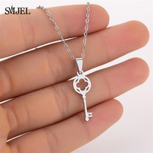 SMJEL New Love Vintage Punk Silver Key Pendant Necklace Collares Bijoux for Women Jewelry Clavicle Choker Stainless Steel Gift