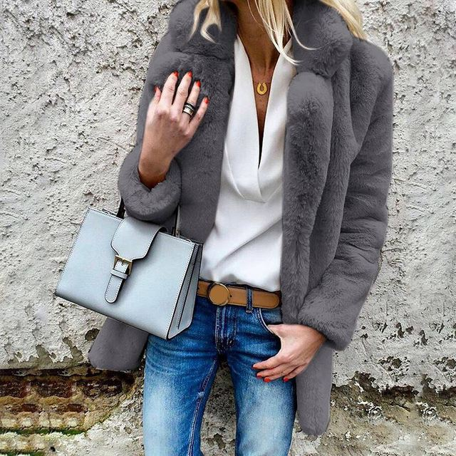 Women Faux Fur Long Jacket Coats Solid ThickenTurn Down Long Sleeve Female Tops Autumn Winter Casual Loose Ladies Fashion Coat