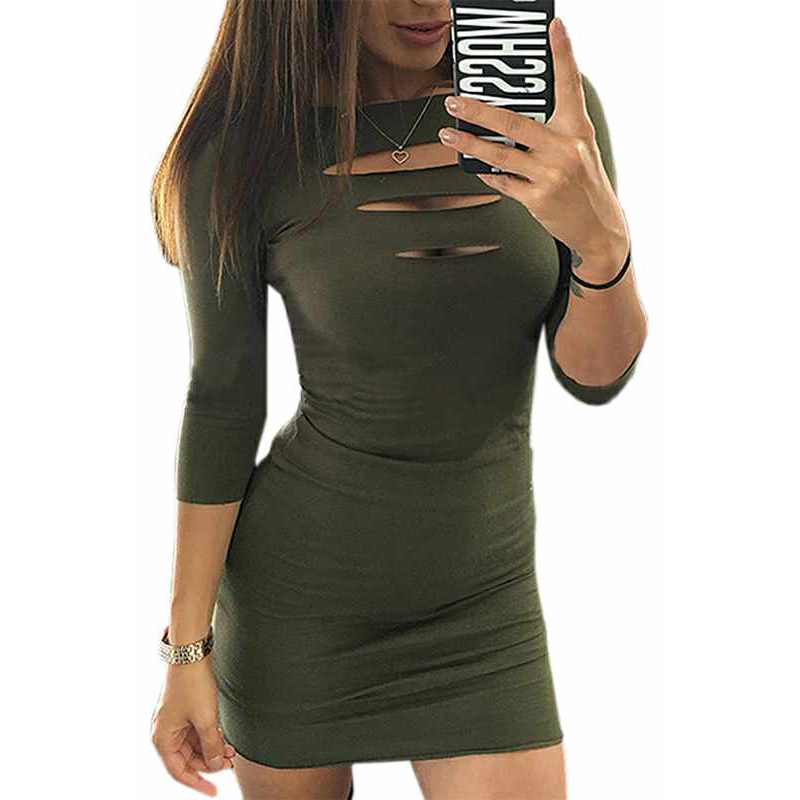 ZSIIBO 2021 new sexy slim bag hip mini dress chest opening seven point sleeve dress bottoming dress|Dresses|   - AliExpress