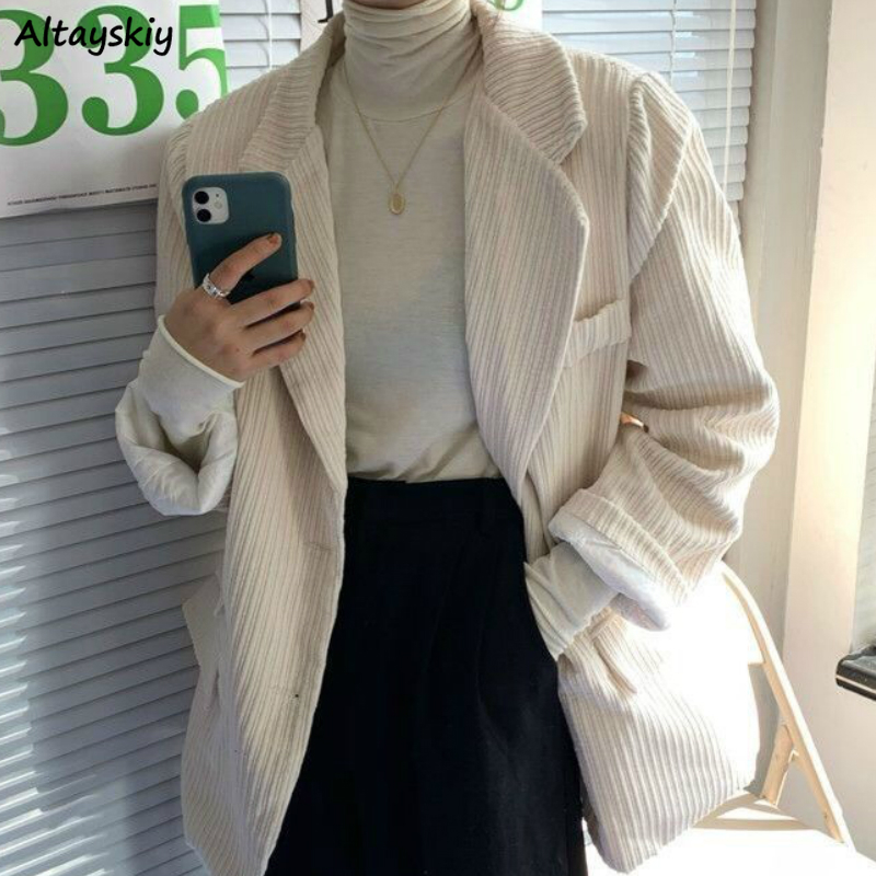 Blazers Women New Retro Corduroy Loose Fashion Solid White Elegant Lady Tops Plus Size Ulzzang Vintage Chic Casual Coat Spring