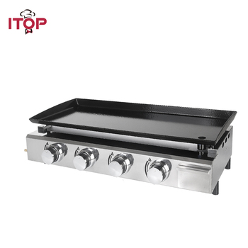 ITOP 4 Burners Gas Plancha BBQ Grills Outdoor Barbecue Tools Non-stick Cooking Hot Plates Heavy Duty Machine Griddle