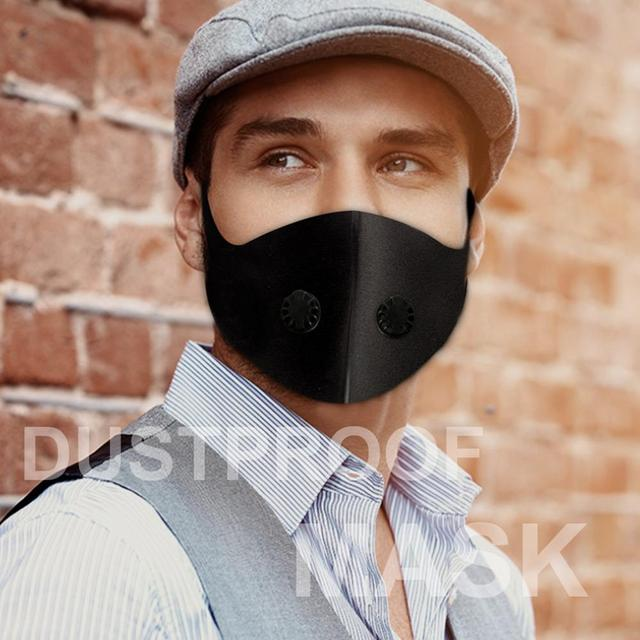 PM 2.5 Dust Masks Double Air Valve Anti-fog Activated Carbon Filter Flu-proof Mouth Mask Anti Pollution Mask Outdoor Dust Mask 3