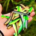 50 шт./партия Рыбная ловля джиг воблеры, мягкие приманки для 55 мм/70 мм Easy Shiner от двойной Цвет силиконовая искусственная наживка приманка на ка...