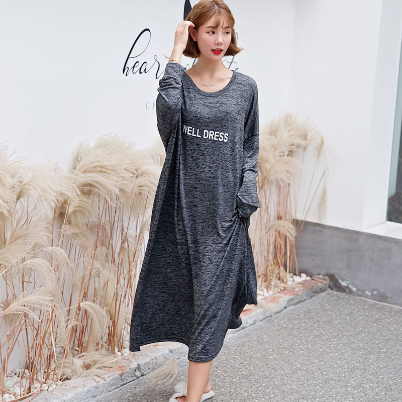 Women's Nightie Modal Long-sleeved Jumpsuit Nightdress Autumn Home Service Lazy Wind Loose Sleep Nightgowns <font><b>Camison</b></font> <font><b>Sexy</b></font> <font><b>Mujer</b></font> image