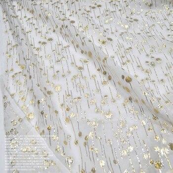 Georgette blanco de gasa Flor de lluvia seda oro seda ropa tela