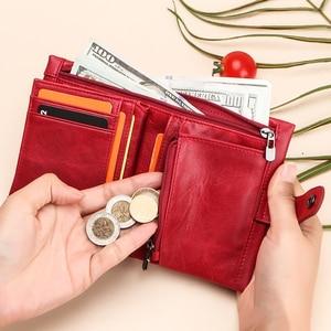 Image 5 - 2020 חדש רך אמיתי עור נשים ארנק מטבע ארנק קצר יוקרה גבירותיי קטן Rfid כרטיס ארנקים מצמד תיק Portomonee Portfel