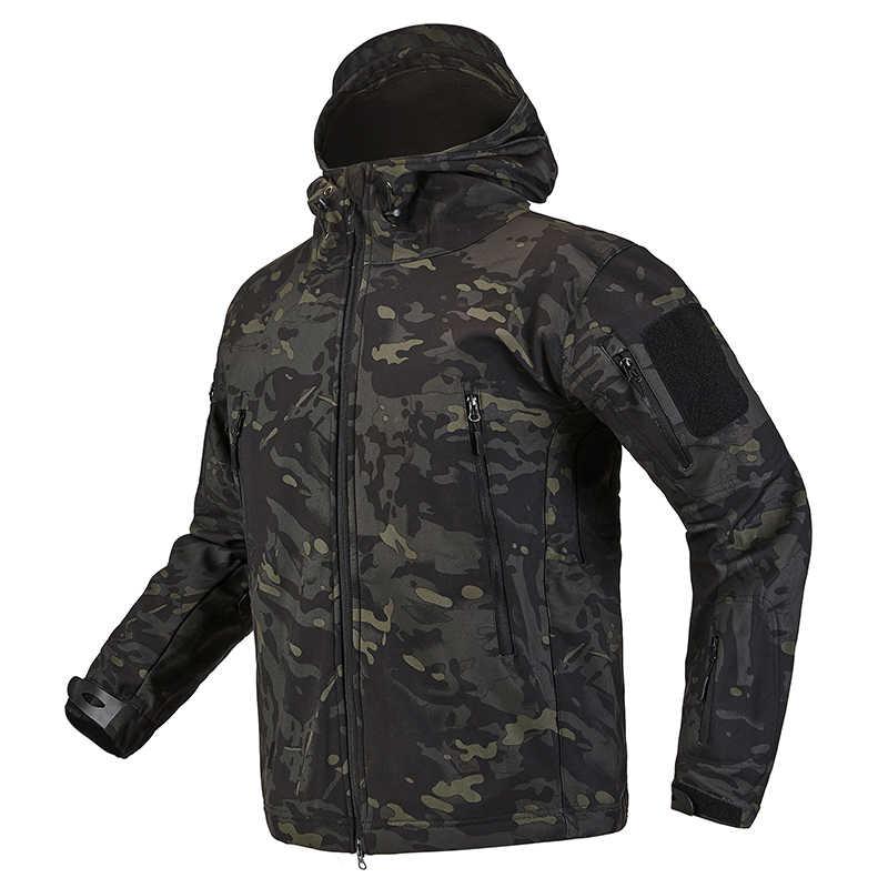 Chaqueta táctica militar de la cáscara suave de la piel de tiburón para hombres impermeable ejército Fleece ropa Multicam camuflaje rompevientos 4XL