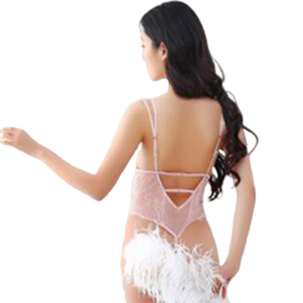 Eyelash Lace Fun Jumpsuit Uniform Temptation European And American Adult Ladies Sling Perspective Dress