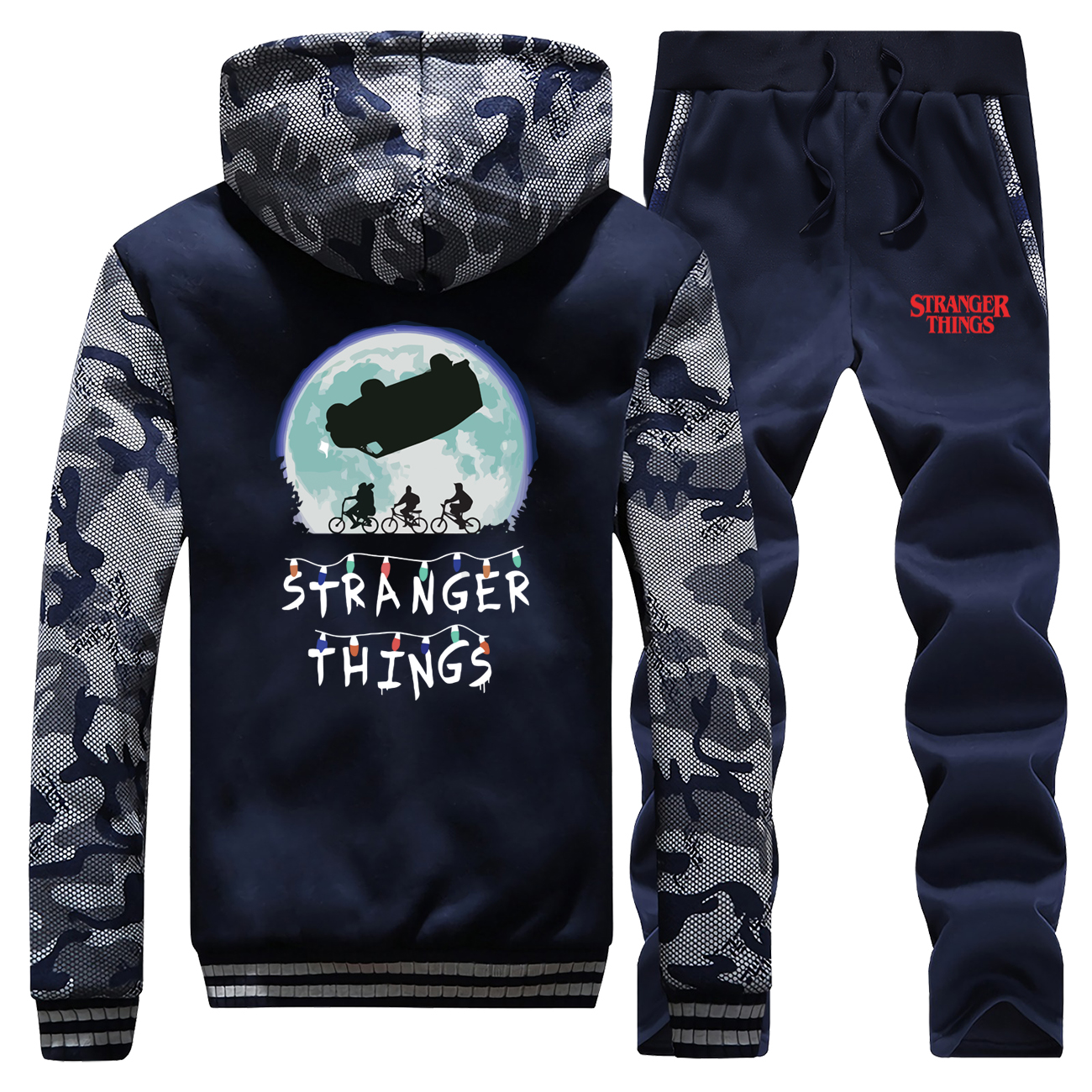 Camo Male Set Thick Fleece Men Sets Strangers Things Funny Full Suit Tracksuit Winter Bodywarmer Jackets Fashion Eleven Pants