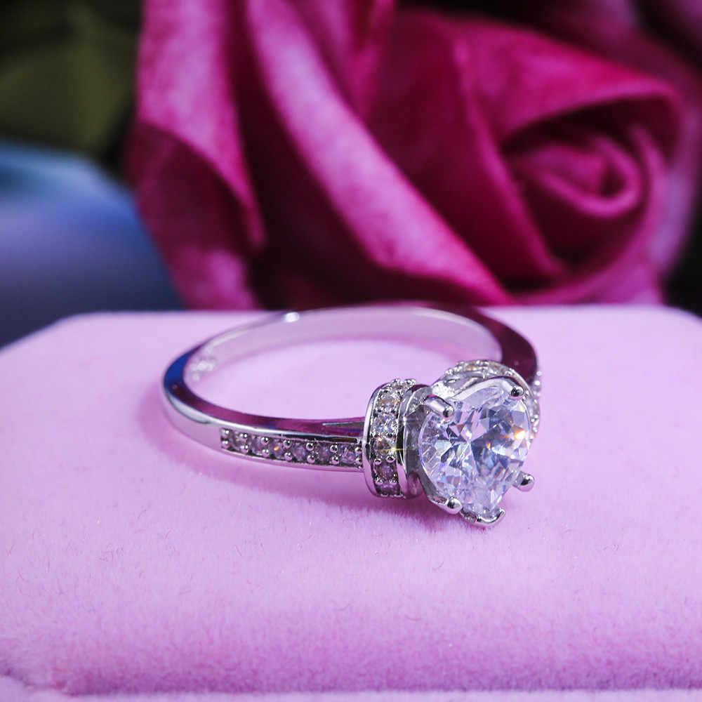 หรูหราสุภาพสตรีคริสตัลแหวนหัวใจสัญญา Silver สีแหวนความรักหมั้นแหวน